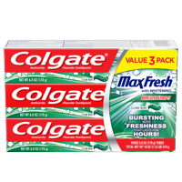 Colgate Max Fresh Toothpaste with Breath Strips, Clean Mint - 6.0 oz (3 Pack)