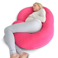 PharMeDoc Pregnancy Pillow with PINK Jersey Cover - C Shaped Body Pillow for Pregnant Women