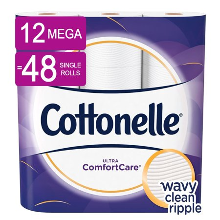 Cottonelle Ultra ComfortCare Toilet Paper, 12 Mega Rolls (=48 Regular - Talking Toilet Paper