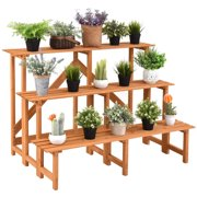 3 Tier Wide Wood Plant Stand Flower Pot Holder Display Rack Shelves Step Ladder