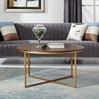 "Manor Park 36"" Coffee Table with X-Base - Dark Walnut & Gold"