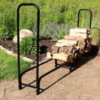 Sunnydaze 8-Foot Firewood Log Rack ONLY, Outdoor Fireplace Wood Stacker Storage Holder, Black