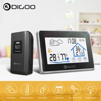 Digoo DG-TH8380 Touch Screen Back-light Indoor Outdoor Sensor Wireless Weather Forecast Station,Time Date Display Humidity Temperature Meter Monitor Thermometer Hygrometer Clock