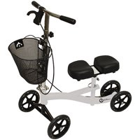Roscoe Medical Knee Walker Scooter with Basket and Padded Seat, White