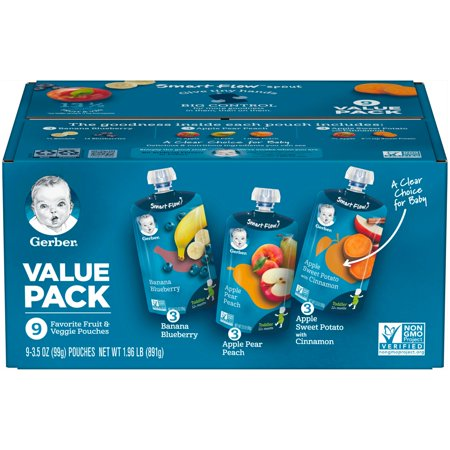 Gerber Favorite Fruit & Veggie Pouches Value Pack 9-3.5 oz. Pouches (Spouted Pouches)