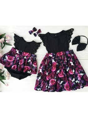 Toddelr Kid Baby Girl Sister Matching Floral Jumpsuit Romper Dress Outfits Set