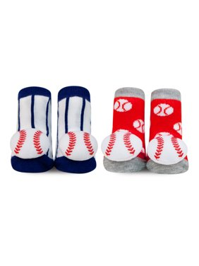 Waddle and Friends 2 Pack Designer Boys Baby Socks MLB Baseball Newborn 0-12 Months Baby Slippers 2 Pairs Red White and Blue Major League Striped Sensory Foot Finder Toy Baby Shower Gift Idea!