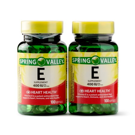Spring Valley Vitamin E Supplement, 400IU, 200 Softgel Capsule Twin Pack Beta Carotene Softgels Antioxidant Vitamins