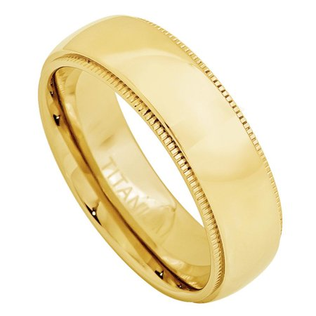 7mm - For Men or Ladies Yellow Gold Plated Domed with Milgrain Titanium Wedding Band Ring