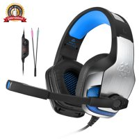 Excelvan Gaming Headset for PS4, PC, Xbox One Controller, Noise Cancelling Over Ear Headphones with Mic, LED Light, Bass Surround, Soft Memory Earmuffs for Laptop Mac Nintendo Switch Games