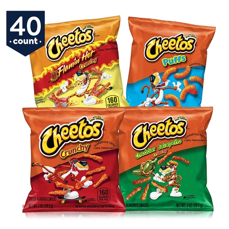Cheetos Cheese Flavored Snacks Variety Snack Pack, 40 Count - Mini Halloween Cheese Balls