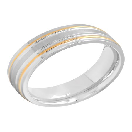 - Men's Two-Tone Stainless Steel 7MM Striped Wedding Band - Mens Ring
