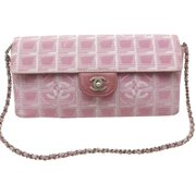 a287024101e5 East West Quilted Chocolate Bar Chain Flap 869394 Pink Canvas Shoulder Bag