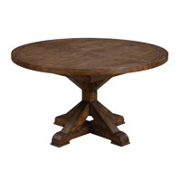 """Emerald Home Chambers Creek Brown 54"""" Round Dining Table with Extension Leaf And Farmhouse Trestle Base"""