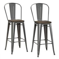 "DHP Luxor 30"" Metal Bar Stool with Wood Seat, Set of 2, Various Colors"