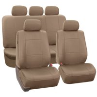 FH Group Tan Faux Leather Airbag Compatible and Split Bench Car Seat Covers, Full Set