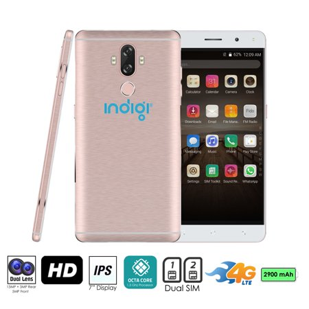 Indigi® 4G LTE Unlocked 6-inch Android 7.0 SmartPhone w/ OctaCore @ 1.3GHz + Fingerprint Scan + 2SIM Slots) (Rose