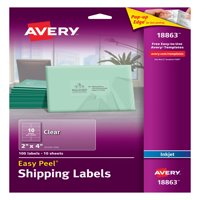 """Avery Easy Peel Shipping Labels, Permanent Adhesive, Matte, Clear, 2"""" x 4"""", 100 Labels (18863)"""
