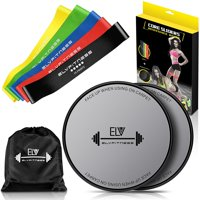 Resistance Loop Bands and Exercise Sliders Set - ELV Home & Personal Fitness Equipment | 5 Elastic Bands + 2 Gliding Discs | Awesome Core, Legs, & Abs Workouts | Physical Therapy & Injury Prevention