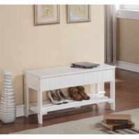 Roundhill Solid Wood Storage Shoe Bench, Multiple Colors