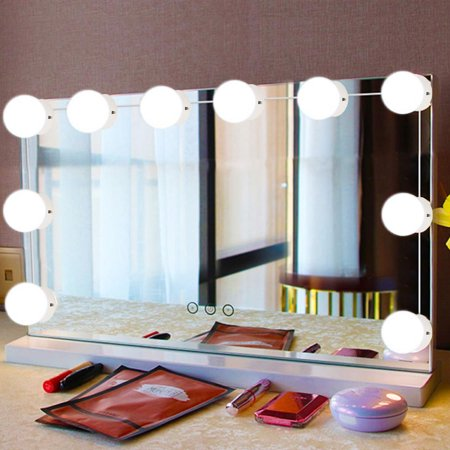 WALFRONT 10Pcs LED Makeup Comestic Mirror Light Kit with Dimmable Light Bulb, Cosmetic Mirror Light, Makeup Mirror Light Bulb