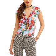6fb739245c7af No Boundaries Juniors  Floral Printed Smocked Tie Front Blouse
