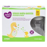 Parent's Choice 5 Ounce Glass Baby Bottles with Slow Flow Vented Nipple - 3 Pack