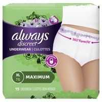 Always Discreet, Incontinence Underwear for Women, Maximum, XL, 15 Count