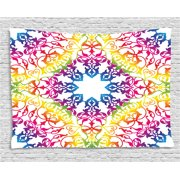 26926ade550 India Tapestry, Abstract Ombre Vivid Rainbow Colored Lace Mandala Tie Dye  Flower Kids Hippie Decor