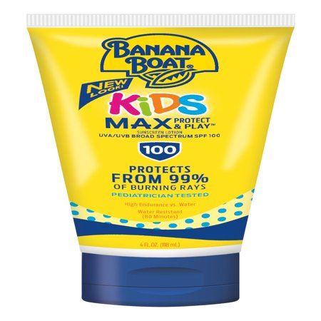 Banana Boat Kids Max Protect & Play Lotion Sunscreen Broad Spectrum SPF 100 - 4 Ounces