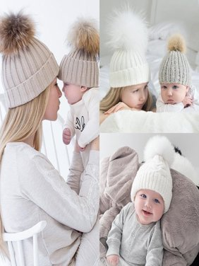 Newborn Baby Warm Winter Knit Beanie Fur Pom Hat Kids Girls Crochet Ski Ball Cap