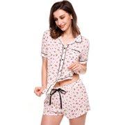 Womens Short Sleeve Print Slim Sleepwear Button-Down Collar Nightwear  Pajamas Set BEDYDS d4eb158fa