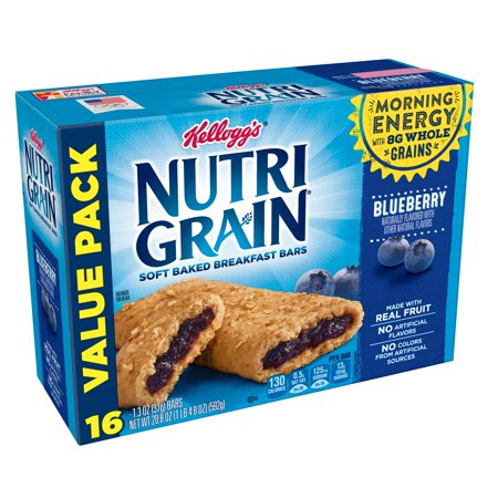 Kellogg's Nutri Grain Blueberry Soft Baked Breakfast Bars Value Pack, 1.3 oz, 16 count ()