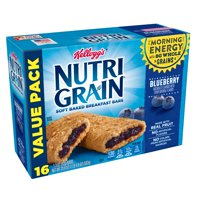 Kellogg's Nutri Grain Blueberry Soft Baked Breakfast Bars Value Pack, 1.3 oz, 16 count