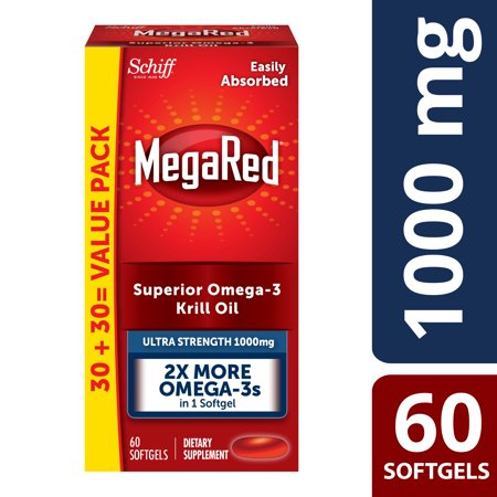 MegaRed Ultra Strength Omega-3 Krill Oil Softgels, 1000 Mg, 60 Ct