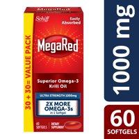 MegaRed Ultra Strength Omega-3 Krill Oil Softgels, 1000 Mg, 60 Ct