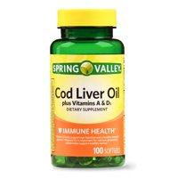 Spring Valley Cod Liver Oil + Vitamin A&D Softgels, 100 Ct