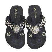 08d4af1d4 Montana West Women Flip Flops Shiny Bling Sandals Crystals Floral Concho  Black