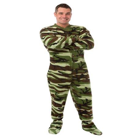 big feet pjs green camo micro-polar fleece adult footed pajamas sleeper with drop seat