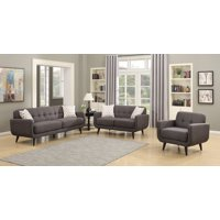 Crystal Collection Upholstered Mid-Century 3-Piece Living Room Set with Tufted Sofa, Loveseat, and Arm Chair and 4 Accent Pillows, Charcoal