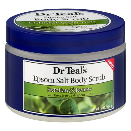 Dr Teal's Exfoliate & Renew with Eucalyptus & Spearmint Epsom Salt Body Scrub, 16 (Green Tea Herbal Salt Scrub)