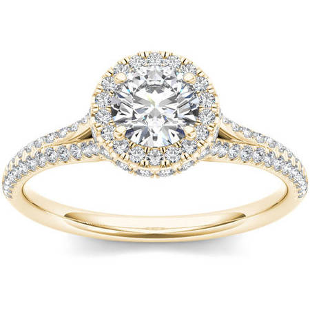 1 Carat T.W. Diamond Single Halo 14kt Yellow Gold Engagement (1 Carat Diamond Ring 14k Yellow Gold)