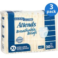 (3 Pack) Attends Classic Briefs with Dry-Lock® Technology for Adult Incontinence Care, X-Large, Unisex (20 Briefs)