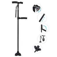 Travel Adjustable Folding Canes and Walking Sticks for Men and Women - Led Light and Easy Grip Handle for Arthritis Seniors Disabled and Elderly