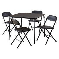 Cosco 5-Piece Card Table Set, Black