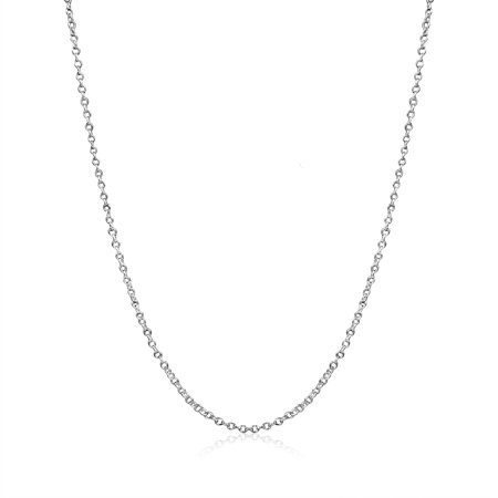 Sterling Silver Thistle (Cable Chain Necklace Sterling Silver Italian 1.3mm Nickel Free 18 inch )
