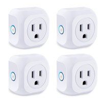 Smart Plug 4 Pack Wifi Enabled Mini Outlets Smart Socket, Compatible with Alexa & Google Assistant, No Hub Required, Timing Outlet Remote Control your Devices from Anywhere