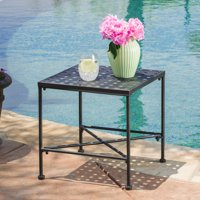 Alexander Outdoor Iron End Table, Black
