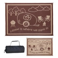 "Ming's Mark 8' x 11' RV Home Outdoor Mat, ""Home is Where We Park It"", Brown / Beige (RH8117)"