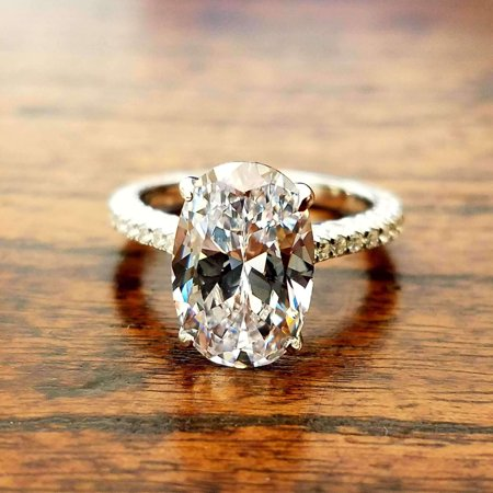 14k Diamond Cut Baseball - CLEARANCE- Alexandra 14K White Gold 3CT Oval Petite French Pavé Crown IOBI Simulated Diamond Ring 8.5